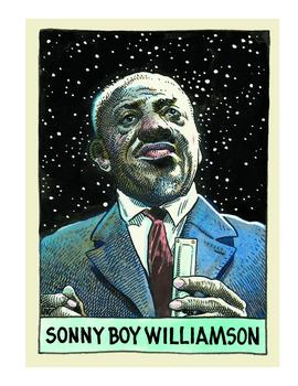 Sonny Boy Williamson II, as depicted by William Stout in 'Legends of the Blues'