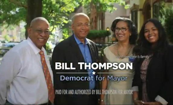 A recent ad for mayoral candidate Bill Thompson with his father, William Thompson Senior, his wife, Elsie McCabe Thompson, and his daughter Jennifer Thompson.