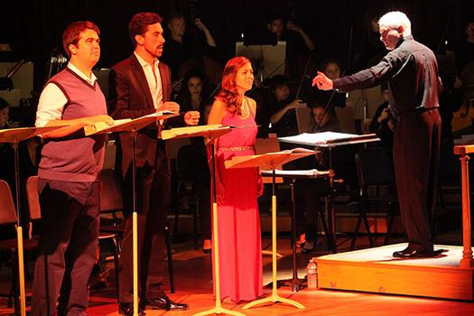 Augustine Mercante, Evan Hughes, Lauren Snouffer and conductor George Benjamin performing 'Written on Skin' in Tanglewood's Ozawa Hall on August 12, 2013