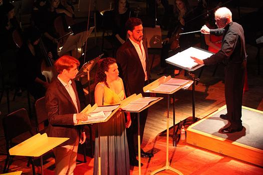Isaiah Bell, Tammy Coil, Evan Hughes and conductor George Benjamin performing 'Written on Skin' in Tanglewood's Ozawa Hall on August 12, 2013