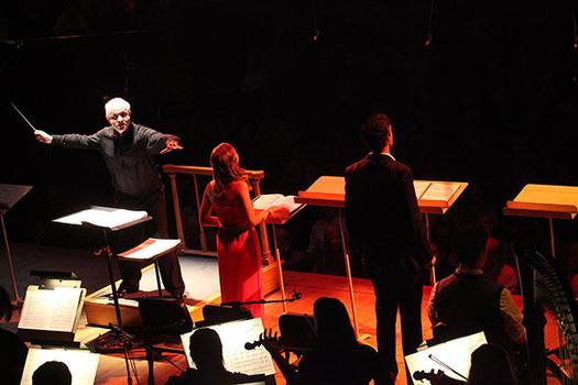 Conductor George Benjamin leading the Tanglewood Music Center Fellows in the US premiere of 'Written on Skin' at Tanglewood's Ozawa Hall on August 12, 2013