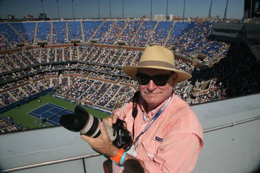 Art Seitz at the 2013 US Open. Seitz has been photographing tennis champions for 30 years.