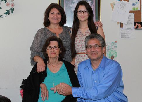 Frank Medina (bottom right), his mother-in-law Mary (bottom left), his wife Nelda (top left), and their daughter Nicole (top right).