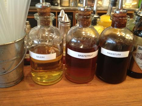 Some of the specialty bitters at the bar.