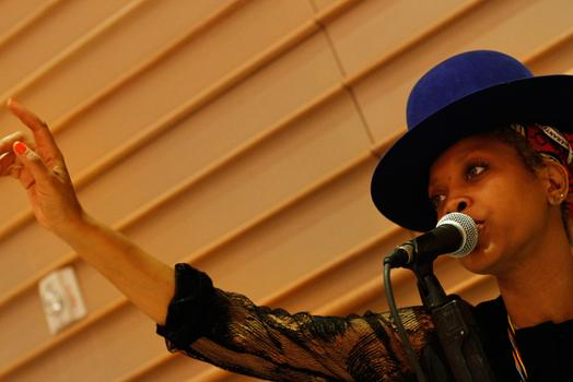 "Erykah Badu, rehearsing ""Master Teacher Part 2"" with the Brooklyn Philharmonic."