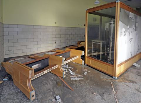 The medical exhibit in the Ferry Building suffered damage from the storm.