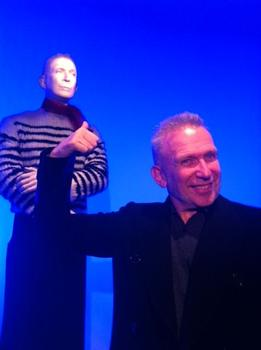 Gaultier in front of a mannequin that replicates his own face and voice