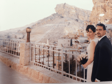 Dr. Hadi Yaziji and his wife on their wedding day in Maaloula.