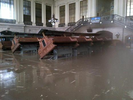 The interior of the historic NJ Transit Hoboken terminal waiting room, post-Sandy