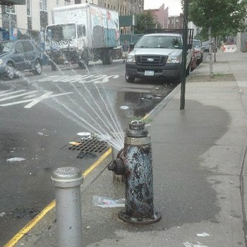 Hydrant with spray cap, Irving Avenue and Melrose Street, Bushwick