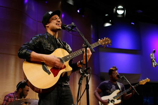 Jose James plays with his band in the Greene Space at WNYC.
