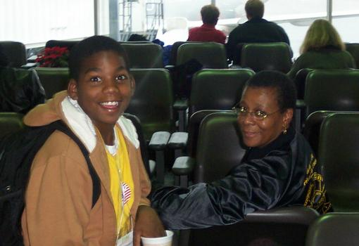 Pre-teen Kamau making a face with his grandmother Saadeka Chandler.