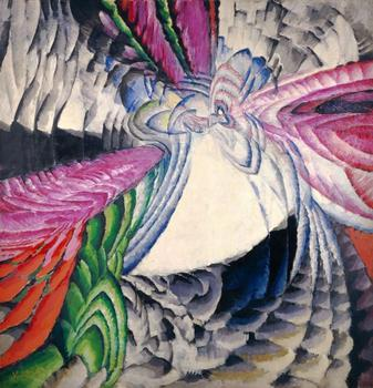 "František Kupka. Localisation des mobiles graphiques II (Localization of graphic motifs II). 1912-13. Oil on canvas, 6' 6 ¾"" x 6' 4 3/8″ (200 x 194 cm)."