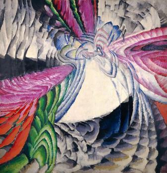 "František Kupka. Localisation des mobiles graphiques II (Localization of graphic motifs II). 1912-13. Oil on canvas, 6' 6 ¾"" x 6' 4 3/8″ (200 x 194 cm)."