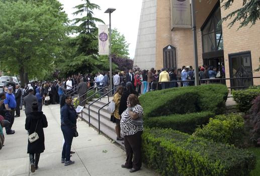 More than 2,000 attended the funeral at Greater Allen AME Cathedral in Southeastern Queens where a line snaked around the block.
