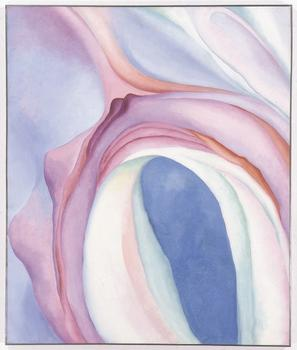 Georgia O'Keeffe. Music – Pink and Blue No. 2. 1918. Oil on canvas, 35 × 29 1⁄8″ (88.9 × 74 cm).
