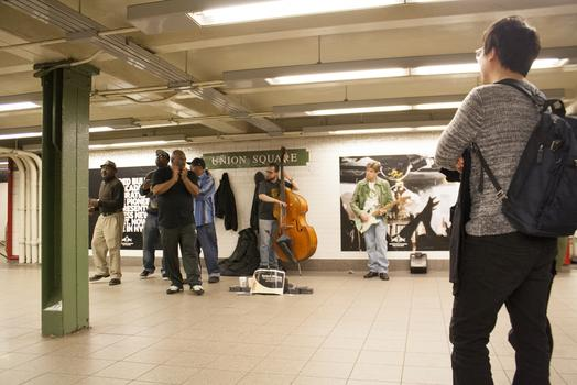 The band Select Blendz performs at the Union Square subway stop. Musicians say the right location is key to making money.