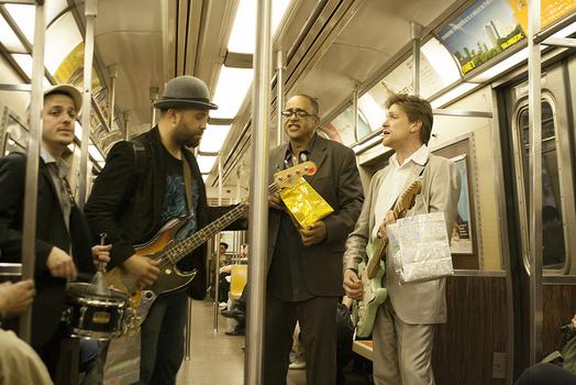 "Each member of the band Gypsy Train took home about $300 after performing on the subways last Christmas Eve. From left to right Eran Fink, Miguel Lantigua, Tommoraw Mortimer, and ""Gypsy"" Joe Hocking."