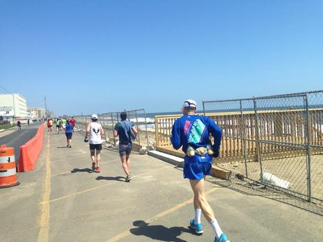 Competitors in the New Jersey Marathon ran mostly on roads this year because Sandy damaged the boardwalks.