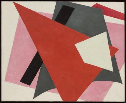 Liubov' Popova. Zhivopisnaia arkhitektonika (Painterly architectonic). 1917. Oil on canvas, 31 1/2 x 38 5/8″ (80 x 98 cm).