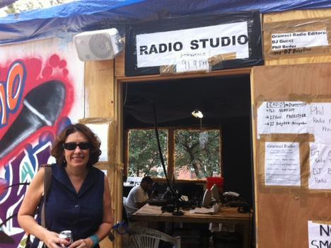 Deborah Solomon in front of the radio studio
