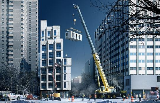 Rendering of construction of the mico-unit apartment building.