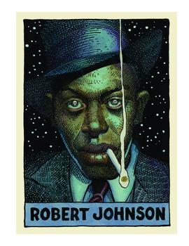 Robert Johnson, as depicted by William Stout in 'Legends of the Blues'