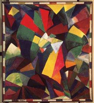 "Morgan Russell. Synchromy in Orange: To Form. 1913-1914. Oil on canvas, 11'3″ x 10'1½"" (342.9 x 308.6 cm)."
