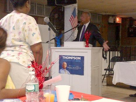 Thompson makes an impassioned pitch to voters in the basement of First Calvary Baptist Church in Brooklyn.