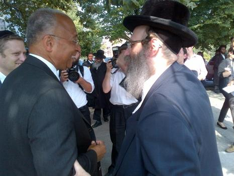Thompson in Williamsburg before he is endorsed by a gathering of Jewish leaders