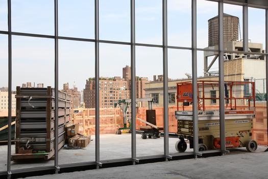 View to Meatpacking District from exhibit space through what will be an outdoor sculpture terrace
