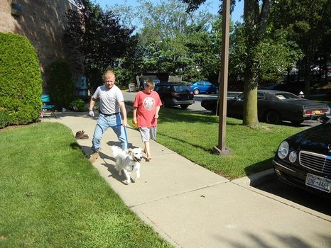 John Wallace and his youngest son, Chris, take Tommy for a walk.
