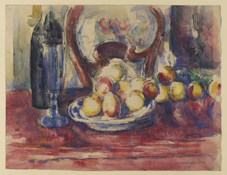 Paul Cézanne (1839–1906). Apples, Bottle and Chairback, c. 1904–6