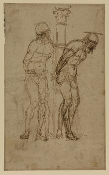 Andrea Mantegna (c. 1431–1506). Studies for Christ at the Column (recto), early 1460s