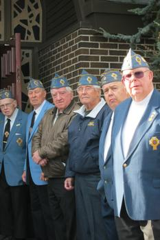 Catholic War Veterans at Maxwell's funeral, outside St Charles Church in Staten Island.