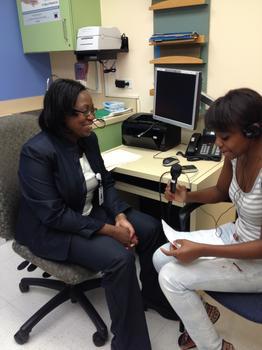Bree interviewing Dr. Suzette Oyeku