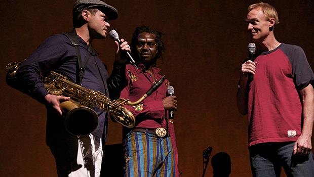 John Schaefer with members of Afrobeat ensemble Antibalas.