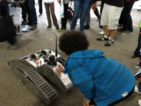 The Node.JS Tank Robot was one of hundreds of robots at Maker Faire.