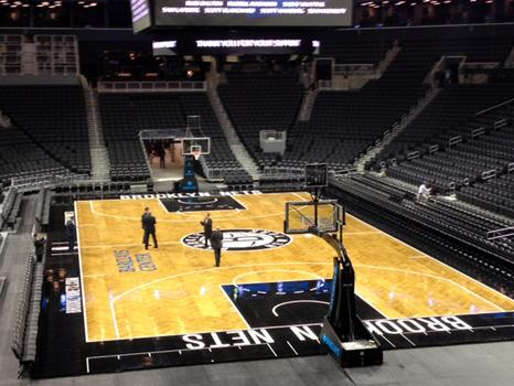 The arena, now completed, will he home to the Brooklyn Nets.