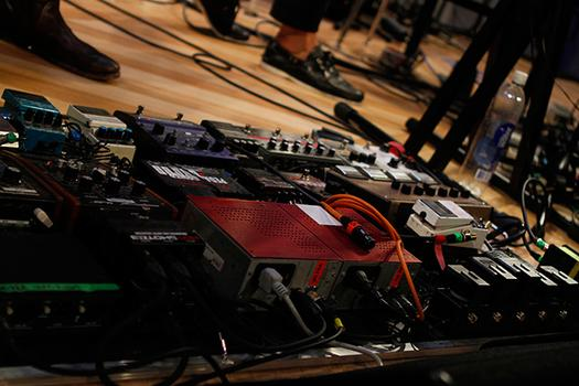 Grizzly Bear bassist Chris Taylor's impressive pedal board.
