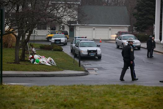 Police evacuated St. Rose around 12:45 p.m. after receiving a threatening phone call in Newtown, Conn.