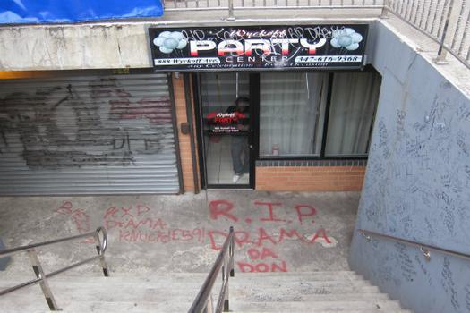 Graffiti tags outside 888 Wycoff Avenue in Bushwick.