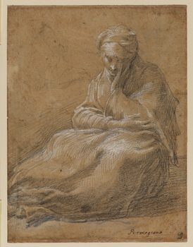 Parmigianino (1503–1540). Woman Seated on the Ground, c. 1523–24