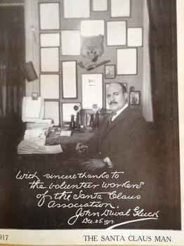 John D. Gluck in his office at The Santa Claus Association's peak in the 1920's.
