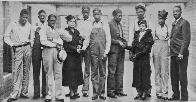 NAACP attorney Juanita E. Jackson (4th from left) visiting Scottsboro boys, January 1937. Jackson was the first black woman to graduate from the University of Maryland law school.
