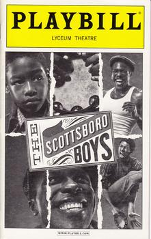 The Scottsboro Boys was a staged musical portrayal of the Scottsboro case. The show premiered Off Broadway in February 2010 and moved to Broadway's Lyceum Theatre in October 2010. Despite good reviews