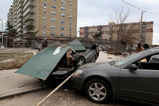 Overturned cars in Far Rockaway, Queens after Sandy.