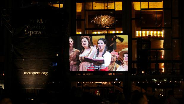 The Met's performance of 'The Elixir of Love' was seen on the plaza at Lincoln Center