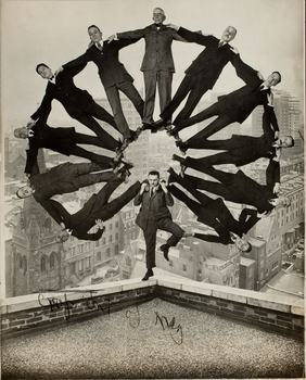 Unidentified American artist. Man on Rooftop with Eleven Men in Formation on His Shoulders