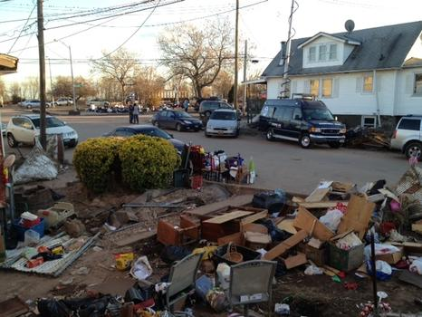 View from the front door of a home on Staten Island, post-Sandy